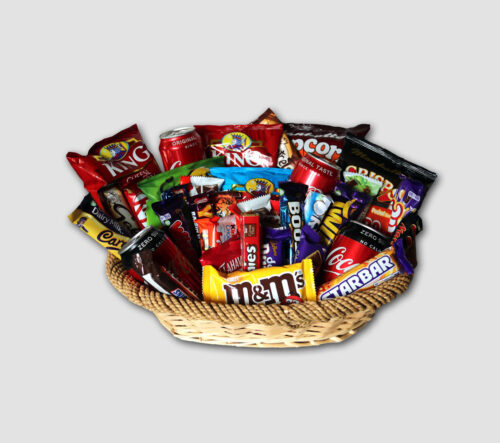basket with sweets and chocolate bars